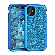 Coque Silicone et Plastique Housse Etui Protection Integrale 360 Degres Bling-Bling pour Apple iPhone 11 Bleu