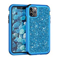 Coque Silicone et Plastique Housse Etui Protection Integrale 360 Degres Bling-Bling pour Apple iPhone 11 Pro Max Bleu