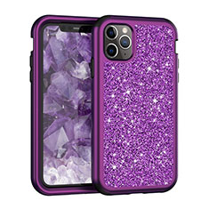 Coque Silicone et Plastique Housse Etui Protection Integrale 360 Degres Bling-Bling pour Apple iPhone 11 Pro Max Violet