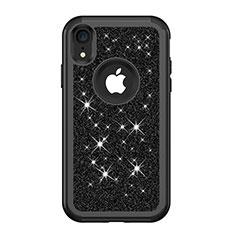 Coque Silicone et Plastique Housse Etui Protection Integrale 360 Degres Bling-Bling pour Apple iPhone XR Noir
