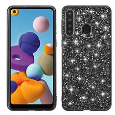 Coque Silicone et Plastique Housse Etui Protection Integrale 360 Degres Bling-Bling pour Samsung Galaxy A21 Noir