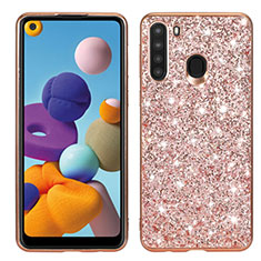 Coque Silicone et Plastique Housse Etui Protection Integrale 360 Degres Bling-Bling pour Samsung Galaxy A21 Or Rose