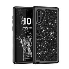 Coque Silicone et Plastique Housse Etui Protection Integrale 360 Degres Bling-Bling pour Samsung Galaxy Note 10 5G Noir