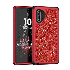 Coque Silicone et Plastique Housse Etui Protection Integrale 360 Degres Bling-Bling pour Samsung Galaxy Note 10 Plus 5G Rouge