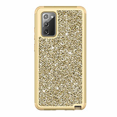 Coque Silicone et Plastique Housse Etui Protection Integrale 360 Degres Bling-Bling pour Samsung Galaxy Note 20 5G Or