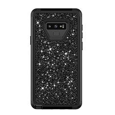 Coque Silicone et Plastique Housse Etui Protection Integrale 360 Degres Bling-Bling pour Samsung Galaxy Note 9 Noir