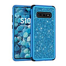 Coque Silicone et Plastique Housse Etui Protection Integrale 360 Degres Bling-Bling pour Samsung Galaxy S10 Bleu
