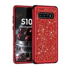 Coque Silicone et Plastique Housse Etui Protection Integrale 360 Degres Bling-Bling pour Samsung Galaxy S10 Plus Rouge