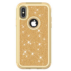 Coque Silicone et Plastique Housse Etui Protection Integrale 360 Degres Bling-Bling U01 pour Apple iPhone X Or