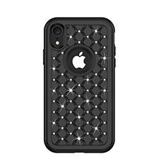 Coque Silicone et Plastique Housse Etui Protection Integrale 360 Degres Bling-Bling U01 pour Apple iPhone XR Noir
