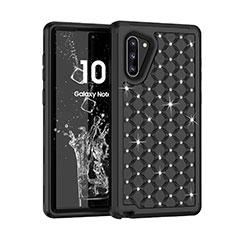 Coque Silicone et Plastique Housse Etui Protection Integrale 360 Degres Bling-Bling U01 pour Samsung Galaxy Note 10 5G Noir