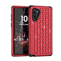 Coque Silicone et Plastique Housse Etui Protection Integrale 360 Degres Bling-Bling U01 pour Samsung Galaxy Note 10 5G Rouge