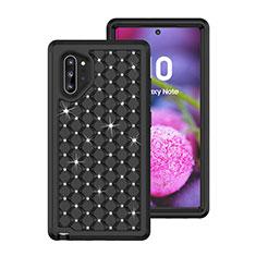 Coque Silicone et Plastique Housse Etui Protection Integrale 360 Degres Bling-Bling U01 pour Samsung Galaxy Note 10 Plus 5G Noir