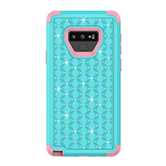 Coque Silicone et Plastique Housse Etui Protection Integrale 360 Degres Bling-Bling U01 pour Samsung Galaxy Note 9 Cyan
