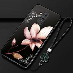 Coque Silicone Fleurs Souple Couleur Unie Etui Housse H02 pour Huawei Mate 20 Lite Noir