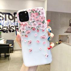 Coque Silicone Fleurs Souple Couleur Unie Etui Housse H03 pour Apple iPhone 11 Pro Max Rose