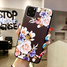 Coque Silicone Fleurs Souple Couleur Unie Etui Housse H04 pour Apple iPhone 11 Pro Max Noir