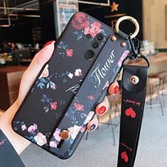 Coque Silicone Fleurs Souple Couleur Unie Etui Housse H04 pour Huawei Mate 20 Lite Noir