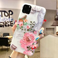Coque Silicone Fleurs Souple Couleur Unie Etui Housse H06 pour Apple iPhone 11 Pro Max Rose