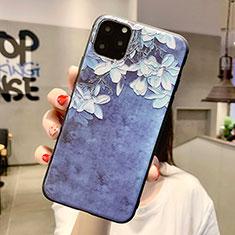 Coque Silicone Fleurs Souple Couleur Unie Etui Housse H07 pour Apple iPhone 11 Pro Max Bleu