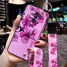 Coque Silicone Fleurs Souple Couleur Unie Etui Housse H08 pour Huawei Mate 20 Lite Rose Rouge
