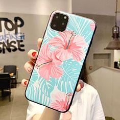 Coque Silicone Fleurs Souple Couleur Unie Etui Housse H09 pour Apple iPhone 11 Pro Max Cyan