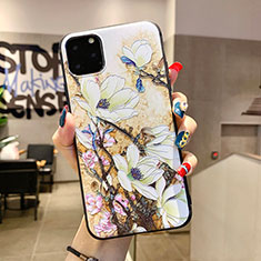 Coque Silicone Fleurs Souple Couleur Unie Etui Housse H12 pour Apple iPhone 11 Pro Max Blanc