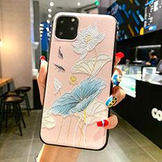 Coque Silicone Fleurs Souple Couleur Unie Etui Housse H14 pour Apple iPhone 11 Pro Max Bleu Ciel