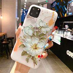 Coque Silicone Fleurs Souple Couleur Unie Etui Housse H15 pour Apple iPhone 11 Pro Max Vert