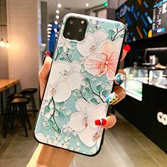 Coque Silicone Fleurs Souple Couleur Unie Etui Housse H16 pour Apple iPhone 11 Pro Max Vert