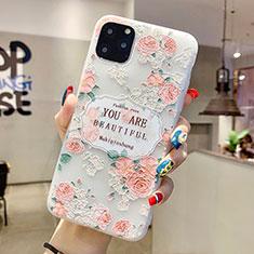 Coque Silicone Fleurs Souple Couleur Unie Etui Housse H17 pour Apple iPhone 11 Pro Max Rose