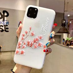 Coque Silicone Fleurs Souple Couleur Unie Etui Housse H18 pour Apple iPhone 11 Pro Max Rose