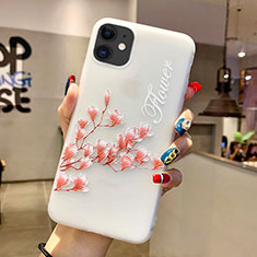 Coque Silicone Fleurs Souple Couleur Unie Etui Housse H18 pour Apple iPhone 11 Rose