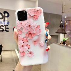 Coque Silicone Fleurs Souple Couleur Unie Etui Housse H19 pour Apple iPhone 11 Pro Max Rose