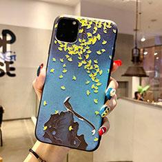 Coque Silicone Fleurs Souple Couleur Unie Etui Housse H20 pour Apple iPhone 11 Pro Bleu