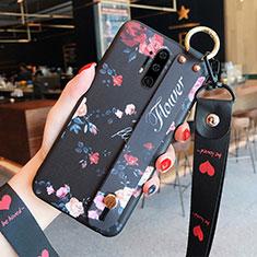 Coque Silicone Fleurs Souple Couleur Unie Etui Housse K01 pour OnePlus 8 Pro Noir