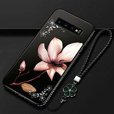 Coque Silicone Fleurs Souple Couleur Unie Etui Housse K01 pour Samsung Galaxy S10 Marron