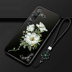 Coque Silicone Fleurs Souple Couleur Unie Etui Housse K01 pour Xiaomi Mi 10 Pro Blanc