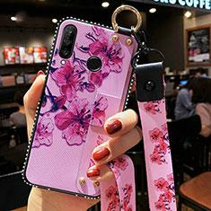 Coque Silicone Fleurs Souple Couleur Unie Etui Housse K02 pour Huawei Honor 20 Lite Violet