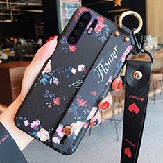 Coque Silicone Fleurs Souple Couleur Unie Etui Housse K02 pour Huawei P30 Pro Noir