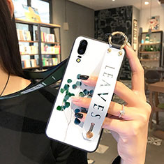 Coque Silicone Fleurs Souple Couleur Unie Etui Housse P01 pour Huawei P20 Vert