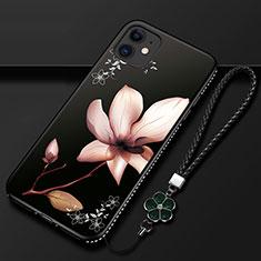 Coque Silicone Fleurs Souple Couleur Unie Etui Housse pour Apple iPhone 12 Marron