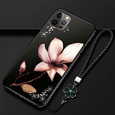 Coque Silicone Fleurs Souple Couleur Unie Etui Housse pour Apple iPhone 12 Pro Marron