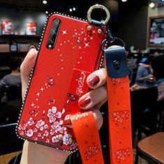 Coque Silicone Fleurs Souple Couleur Unie Etui Housse pour Huawei Enjoy 10S Rouge