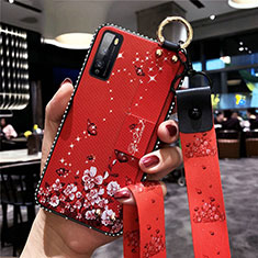 Coque Silicone Fleurs Souple Couleur Unie Etui Housse pour Huawei Enjoy 20 Pro 5G Rouge