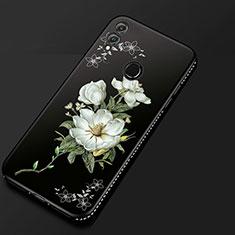 Coque Silicone Fleurs Souple Couleur Unie Etui Housse pour Huawei Honor 8X Noir
