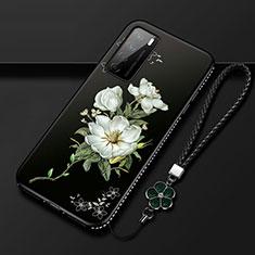 Coque Silicone Fleurs Souple Couleur Unie Etui Housse pour Huawei Honor Play4 5G Blanc