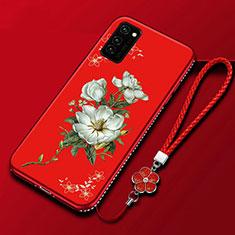 Coque Silicone Fleurs Souple Couleur Unie Etui Housse pour Huawei Honor View 30 5G Rouge