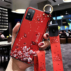 Coque Silicone Fleurs Souple Couleur Unie Etui Housse pour Huawei Honor X10 Max 5G Rouge
