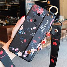 Coque Silicone Fleurs Souple Couleur Unie Etui Housse pour Huawei Mate 40 Noir